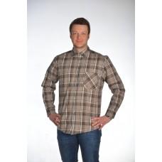 Рубашка мужская с  длинным рукавом с 1 карманом, шотландка
